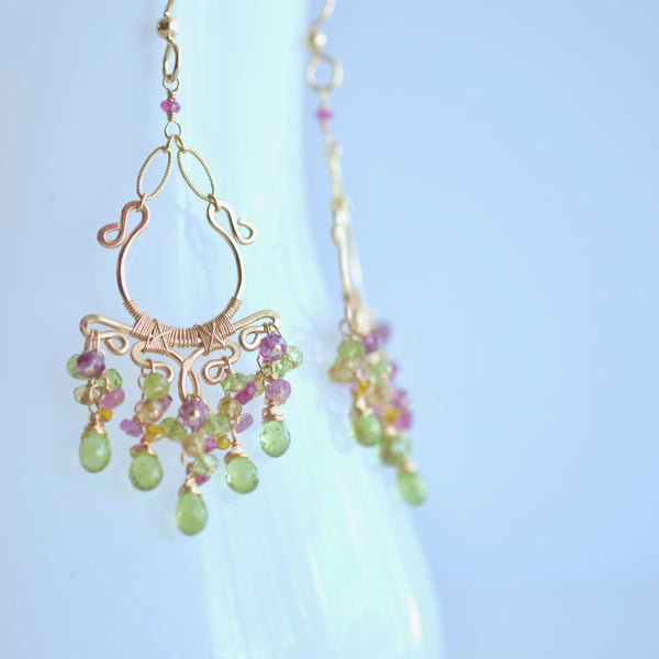 Sienna - Peridot, Rhodolite Garnet, Pink Tourmalines, Citrines, 14k Gold Filled Earrings