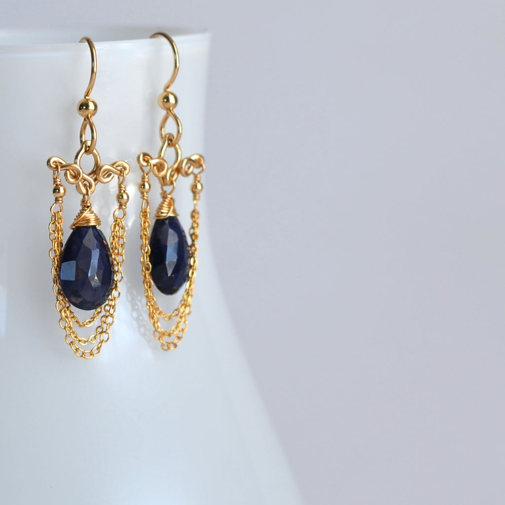 Simone - Iolite and 14k Gold Filled Earrings