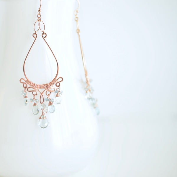 Soleil - Aquamarines, 14k Rose Gold Filled Chandelier Earrings