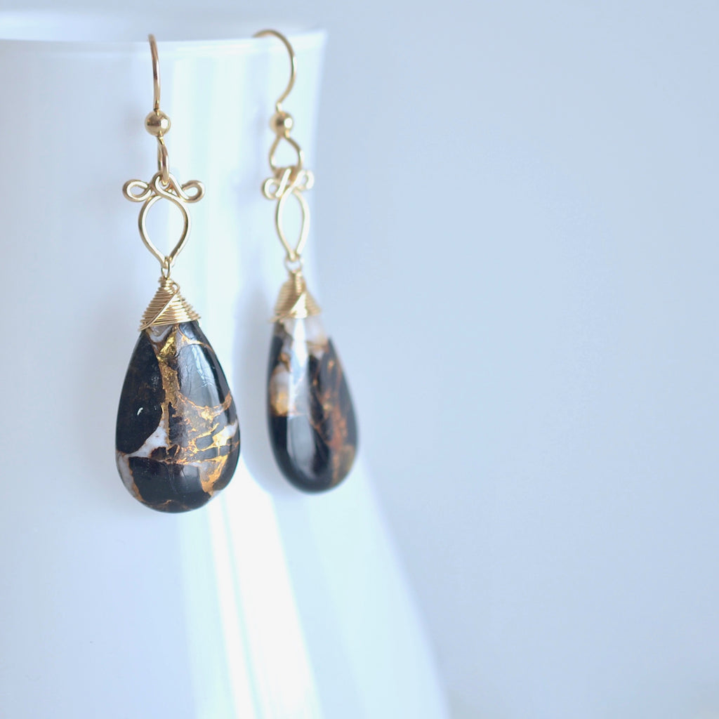 Sunstra - Copper Calcite and Obsidian and 14k Gold Filled Earrings