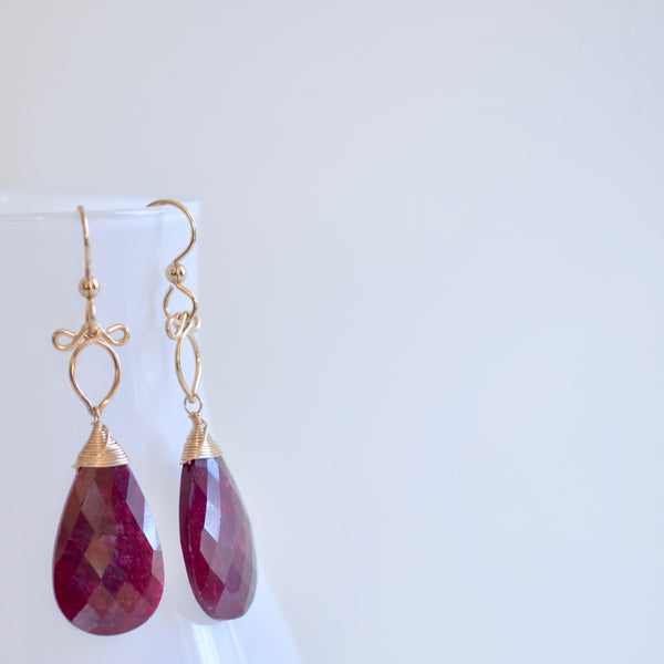 Sunstra - Ruby, 14k Gold Filled Earrings
