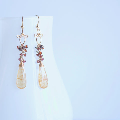 Tatiana - Rutilated Quartz, Multi Color Sapphires 14k Gold Filled Earrings