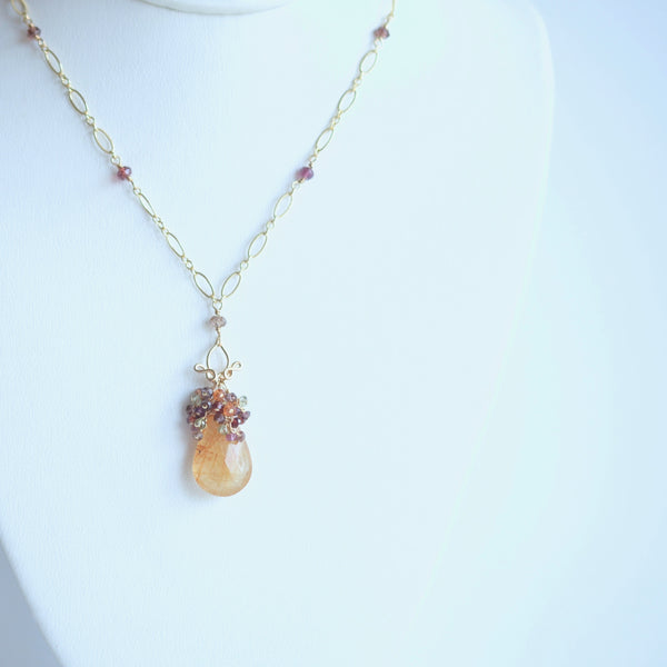 Tatiana - Rutilated Quartz, Sapphires, 14k Gold Filled Necklace