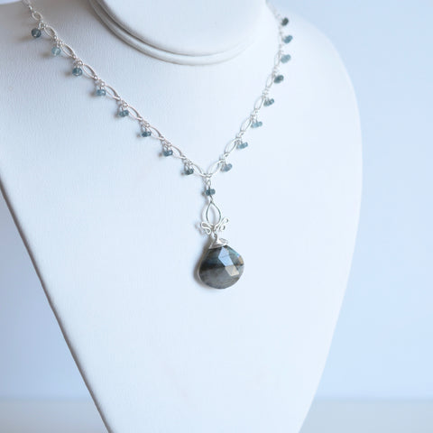 Tess  - Labradorite, Aquamarine Sterling Silver Necklace