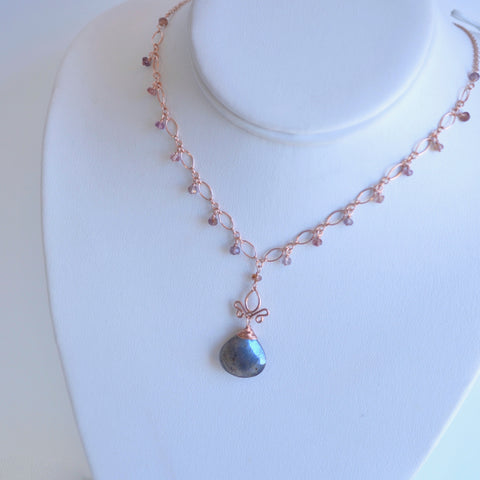 Tess  - Labradorite, Spinel 14k Rose Gold Filled Necklace