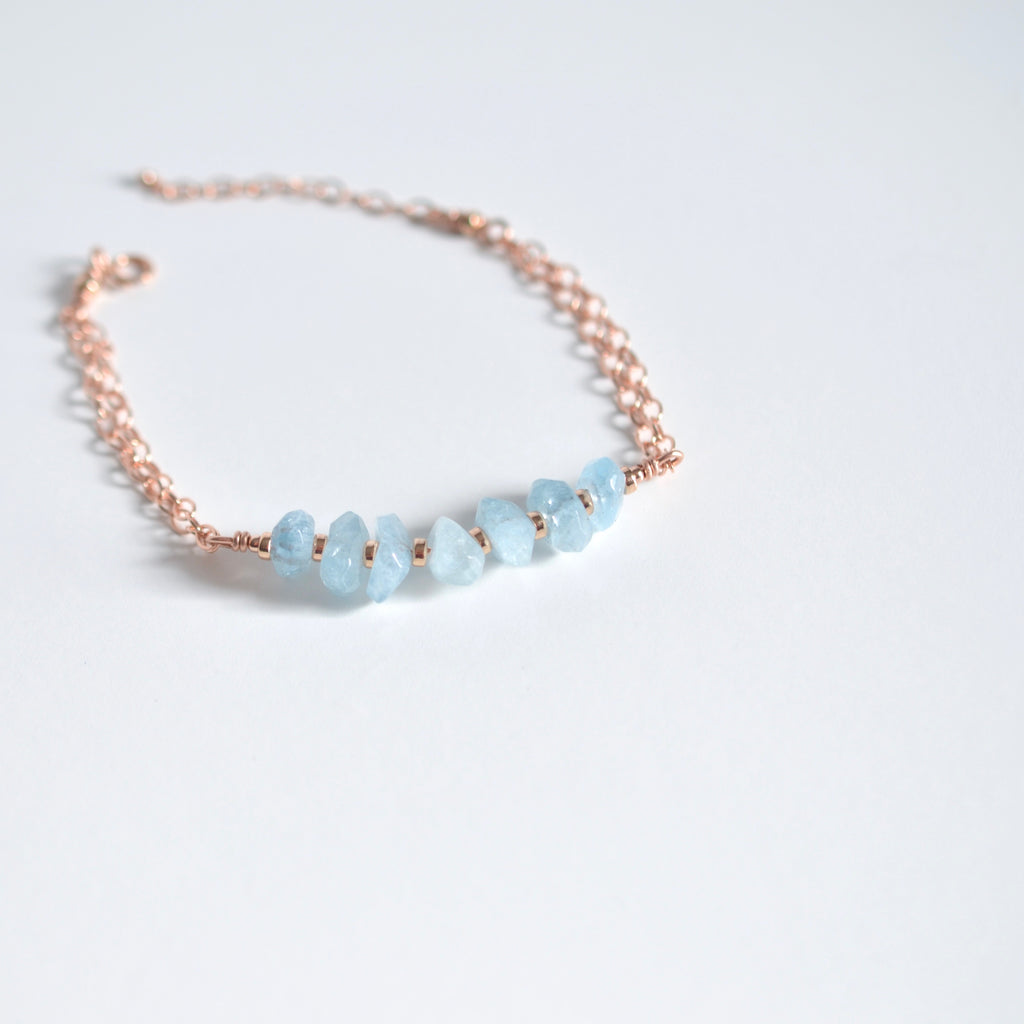 Urzah - Aquamarine, 14k Rose Gold Filled bracelet