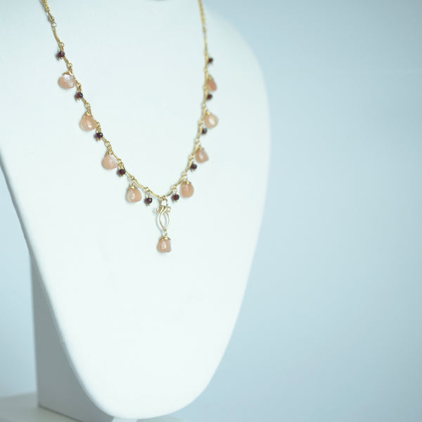 Valentina - Peach Moonstone, Red Garnet 14k Gold Filled Necklace