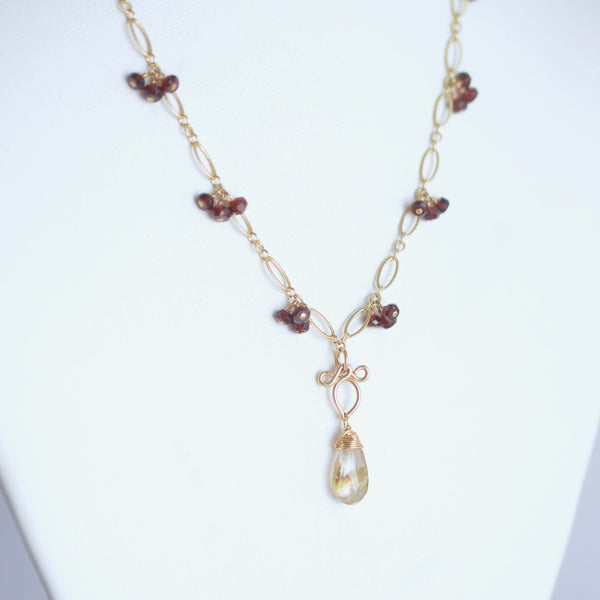 Valeria - Rutilated Quartz, Red Garnet 14k Gold Filled Necklace