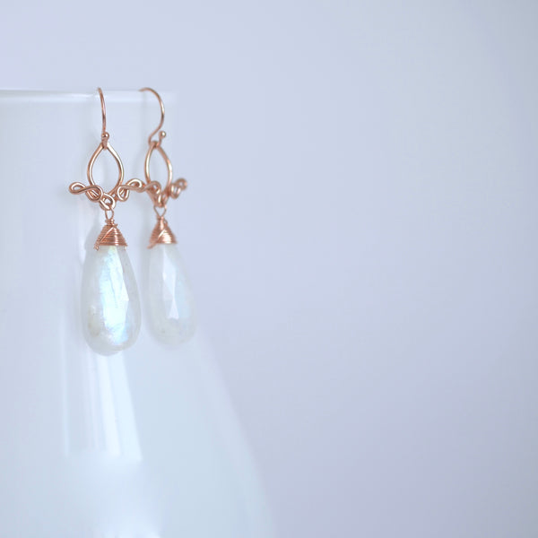 Vanya - Moonstone 14k Rose Gold Filled Earrings