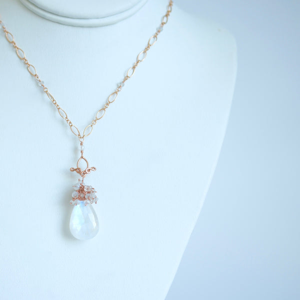 Vanya - Moonstone, 14k Rose Gold Filled Necklace