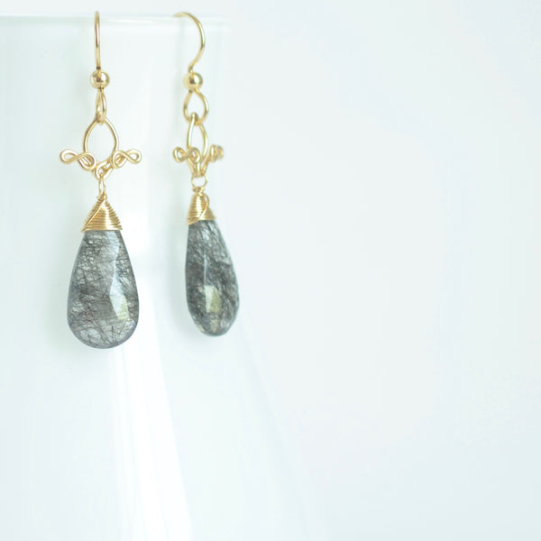 Vanya - Tourmalinated Quartz, 14k Gold Filled Earrings