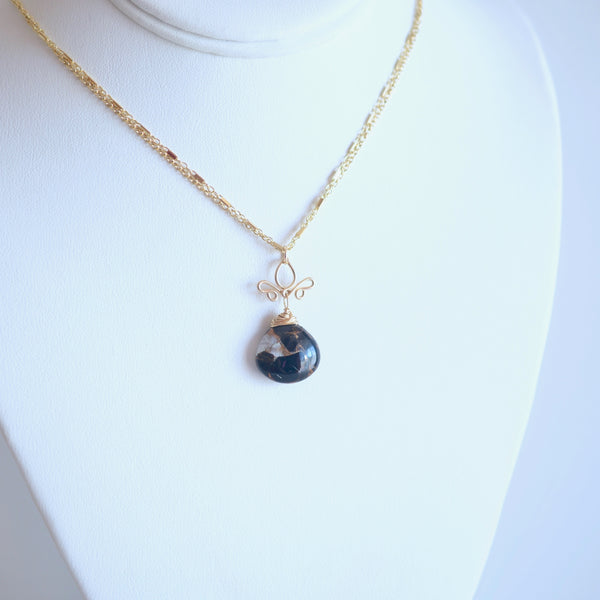 Victoria - Copper Calcite and Obsidian and 14k Gold Filled Necklace