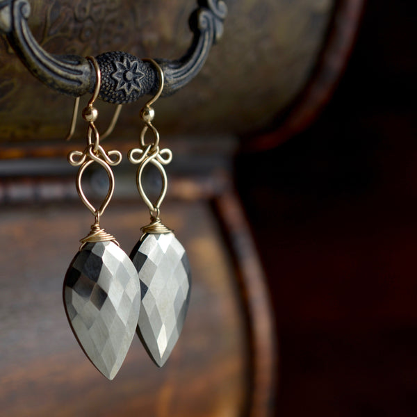 Yolanda - Pyrite,  14k Gold Filled Earrings