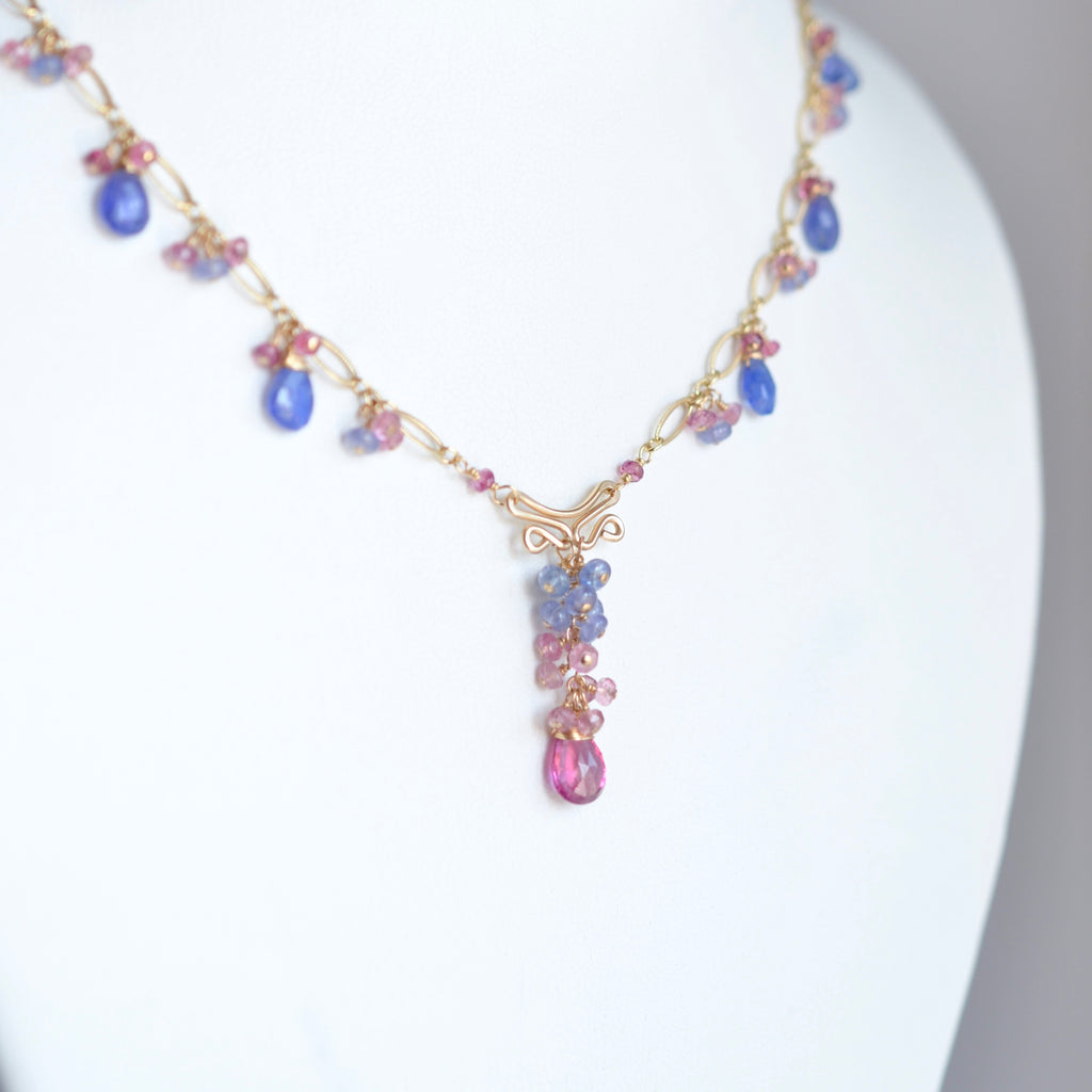 Magdalena - Tanzanite and Tourmalines, 14k Gold Filled Necklace