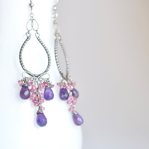Tatiana - Amethyst Pink Sapphires and Oxidized Silver Chandelier Earrings