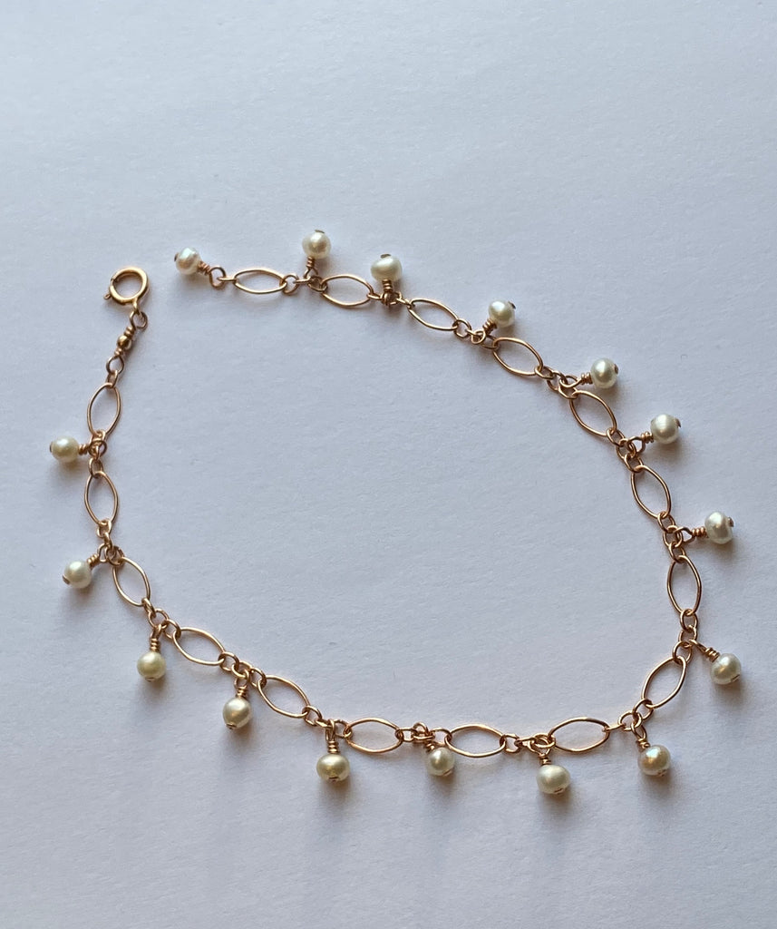 Freshwater pearl 14k rose gold filled bracelet