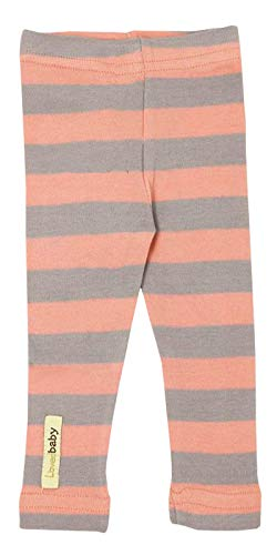 L'ovedbaby Organic Leggings - Coral/Light Gray Stripe