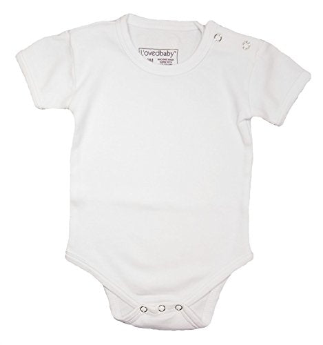L'ovedbaby Short-Sleeve Bodysuit, White 3-6 Months