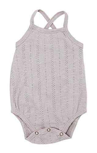 L'ovedbaby Baby Girls Organic Cotton Pointelle Crossback Bodysuit