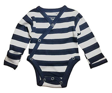 L'ovedbaby Organic Long-Sleeve Kimono Bodysuit - Navy/Light Gray Stripe