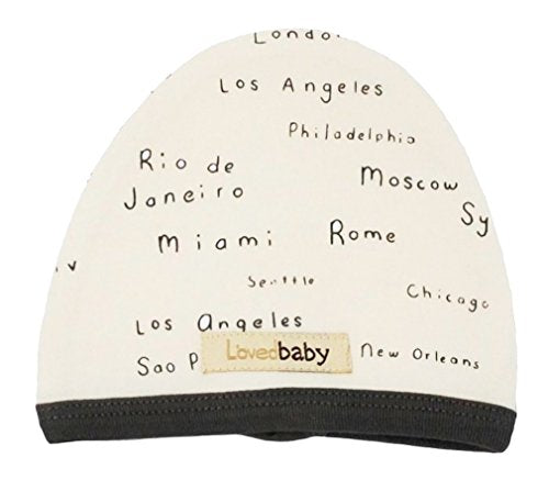 L'ovedbaby Unisex-Baby Organic Infant Cap (Beige City Names, 0-3 Months)