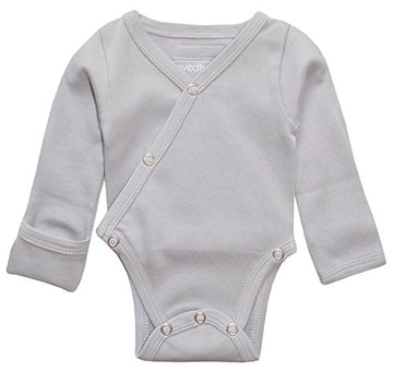 L'ovedbaby Organic Long-Sleeve Kimono Bodysuit - Light Gray
