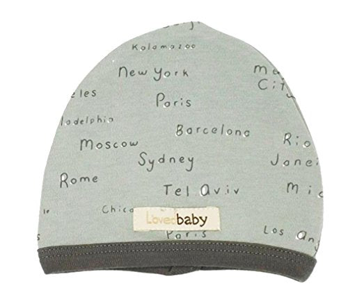 L'ovedbaby Unisex-Baby Organic Infant Cap (Seafoam City Names, 3-6 Months)