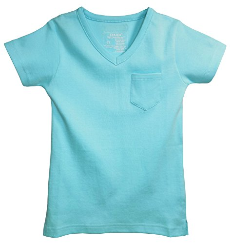 L'ovedbaby Organic Cotton V-Neck Short-Sleeve Baby T-Shirt (0-3 Months, Aqua)