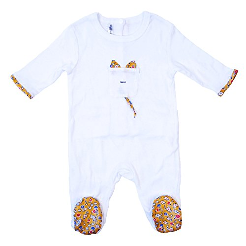 Empress Arts Unisex-Baby 100% Cotton Footed Romper (6-12 Months, Meow Kitty)
