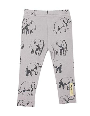 L'ovedbaby L'bKIDS Organic Cotton Leggings Unisex Toddler - Kids (5/6, Light Gray Elephant)