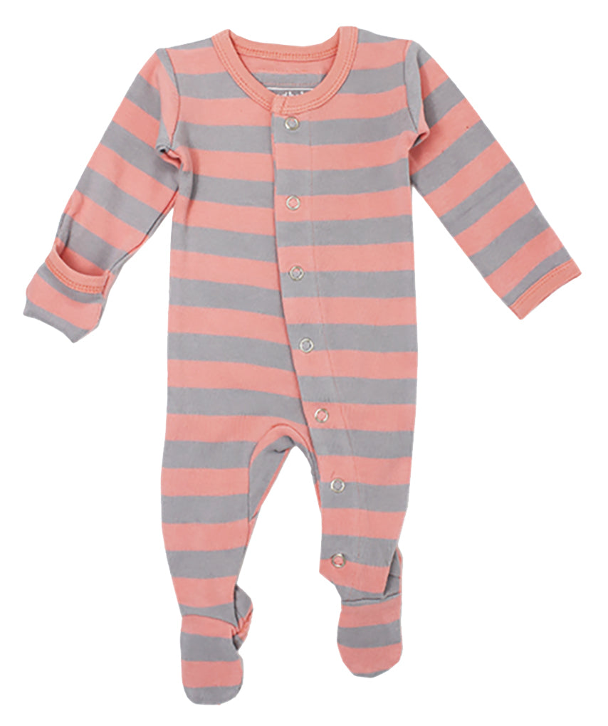 L'ovedbaby Organic Cotton Footie - Coral/Light Gray Stripe