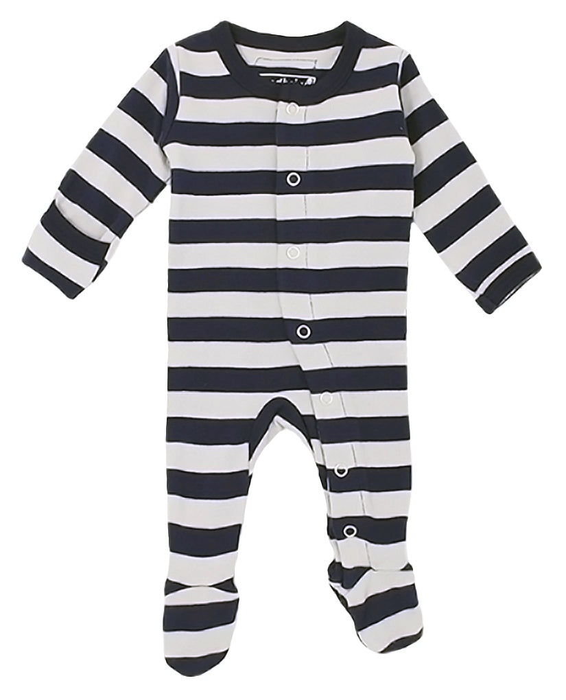 L'ovedbaby Organic Cotton Footie - Navy/Light Gray Stripe