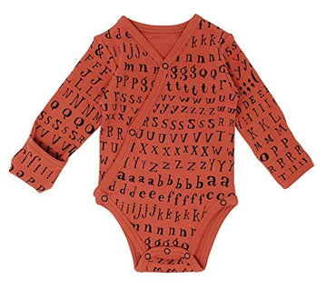 L'ovedbaby Organic Long-Sleeve Kimono Bodysuit - Maple Letters