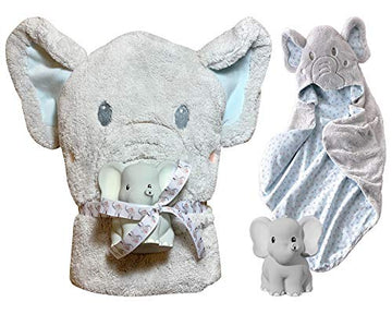 Lil' Llama Baby Hooded Bath Towel + Bath Squirt Toy Gift Set (Elephant)