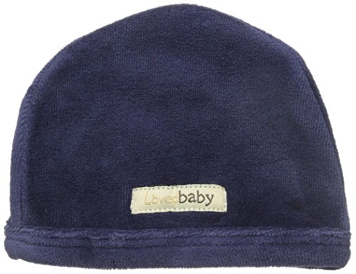 L'ovedbaby Unisex-Baby Newborn Organic Cotton Velour Cute Cap, Navy, New Born
