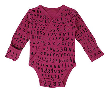 L'ovedbaby Organic Long-Sleeve Kimono Bodysuit - Magenta Letters