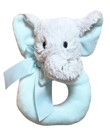 Lil' Llama Baby Rattle Plush Ring Teether Toy (Lil Elephant)