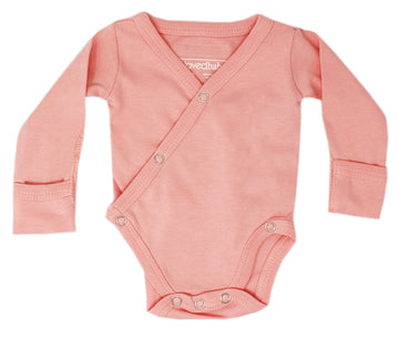 L'ovedbaby Organic Long-Sleeve Kimono Bodysuit - Coral