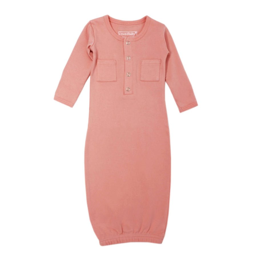 L'ovedbaby Organic Newborn Gown - Coral