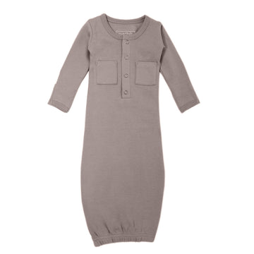 L'ovedbaby Organic Newborn Gown - Light Gray