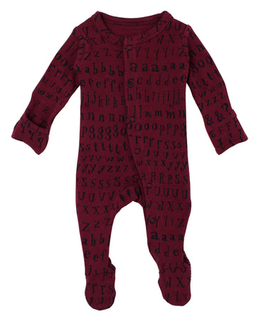 L'ovedbaby Organic Cotton Footie - Cranberry Letters