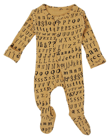 L'ovedbaby Organic Cotton Footie - Honey Letters
