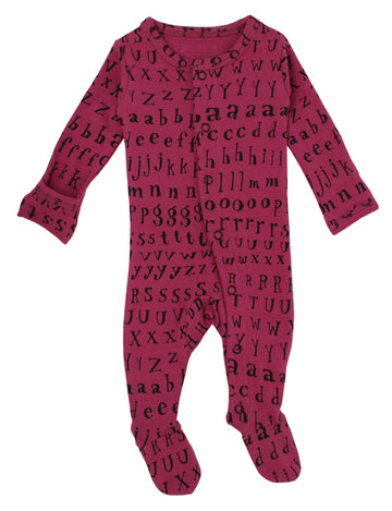 L'ovedbaby Organic Cotton Footie - Magenta Letters