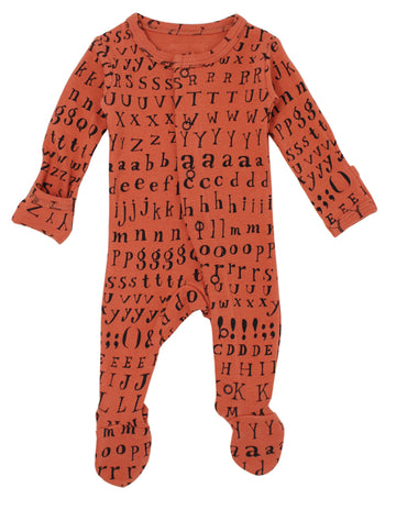 L'ovedbaby Organic Cotton Footie - Maple Letters