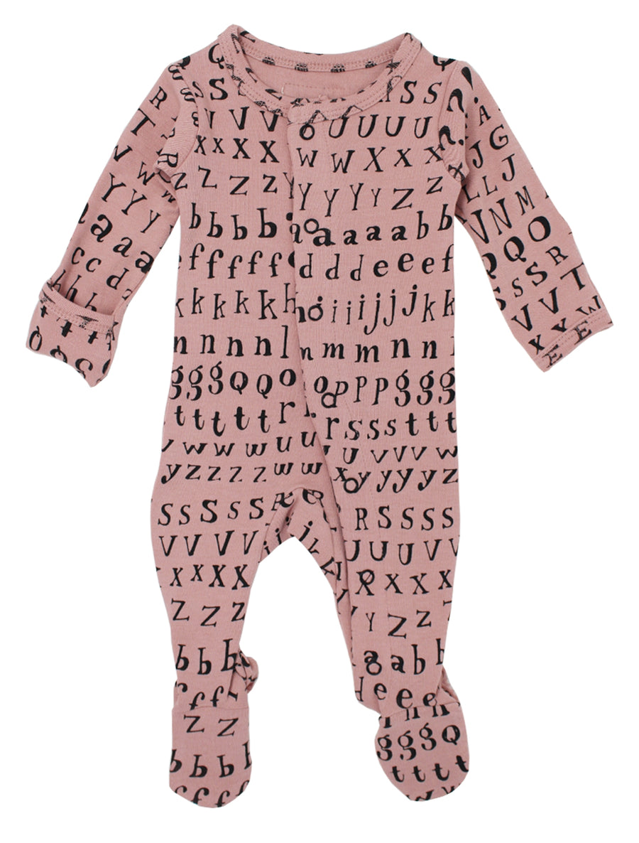L'ovedbaby Organic Cotton Footie - Mauve Letters