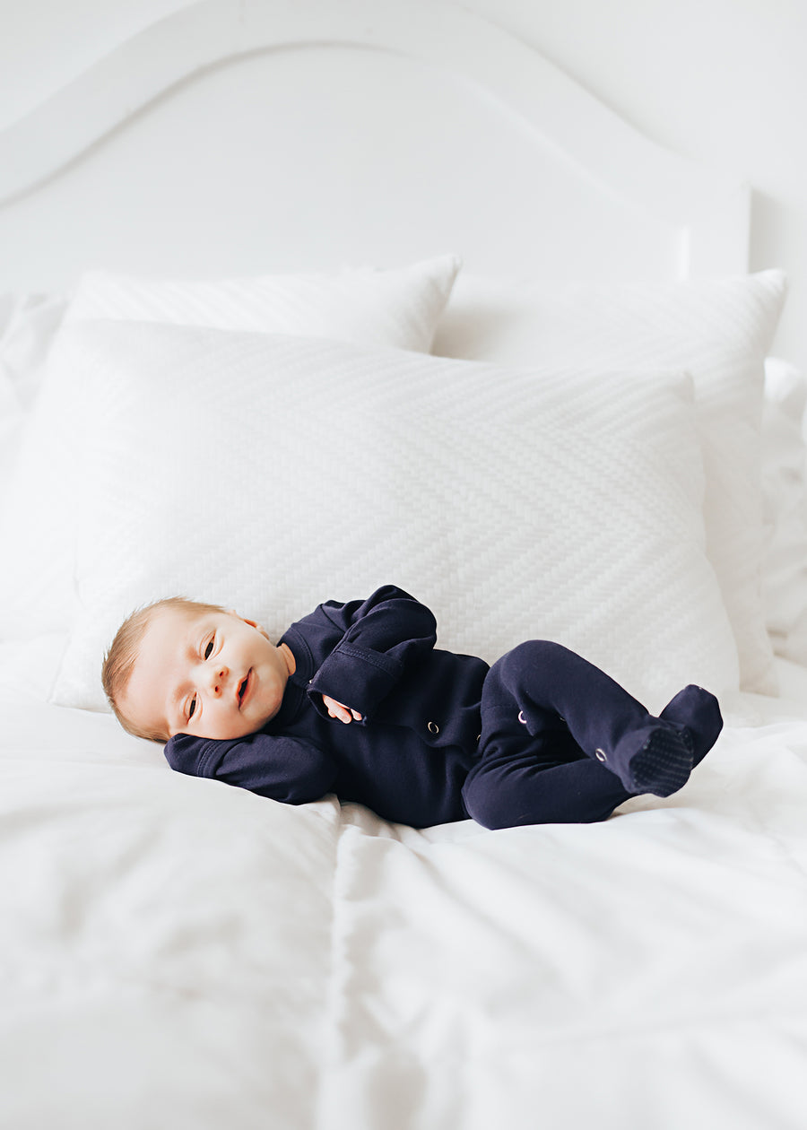 L'ovedbaby Organic Cotton Footie - Navy