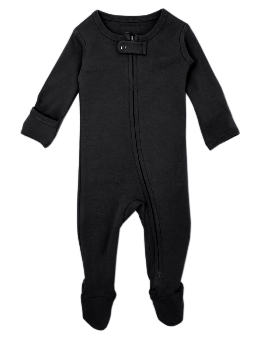 L'ovedbaby Organic Zipper Footie - Black