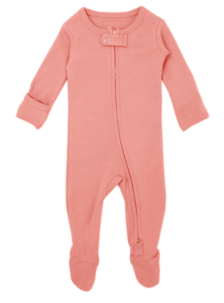 L'ovedbaby Organic Zipper Footie - Coral