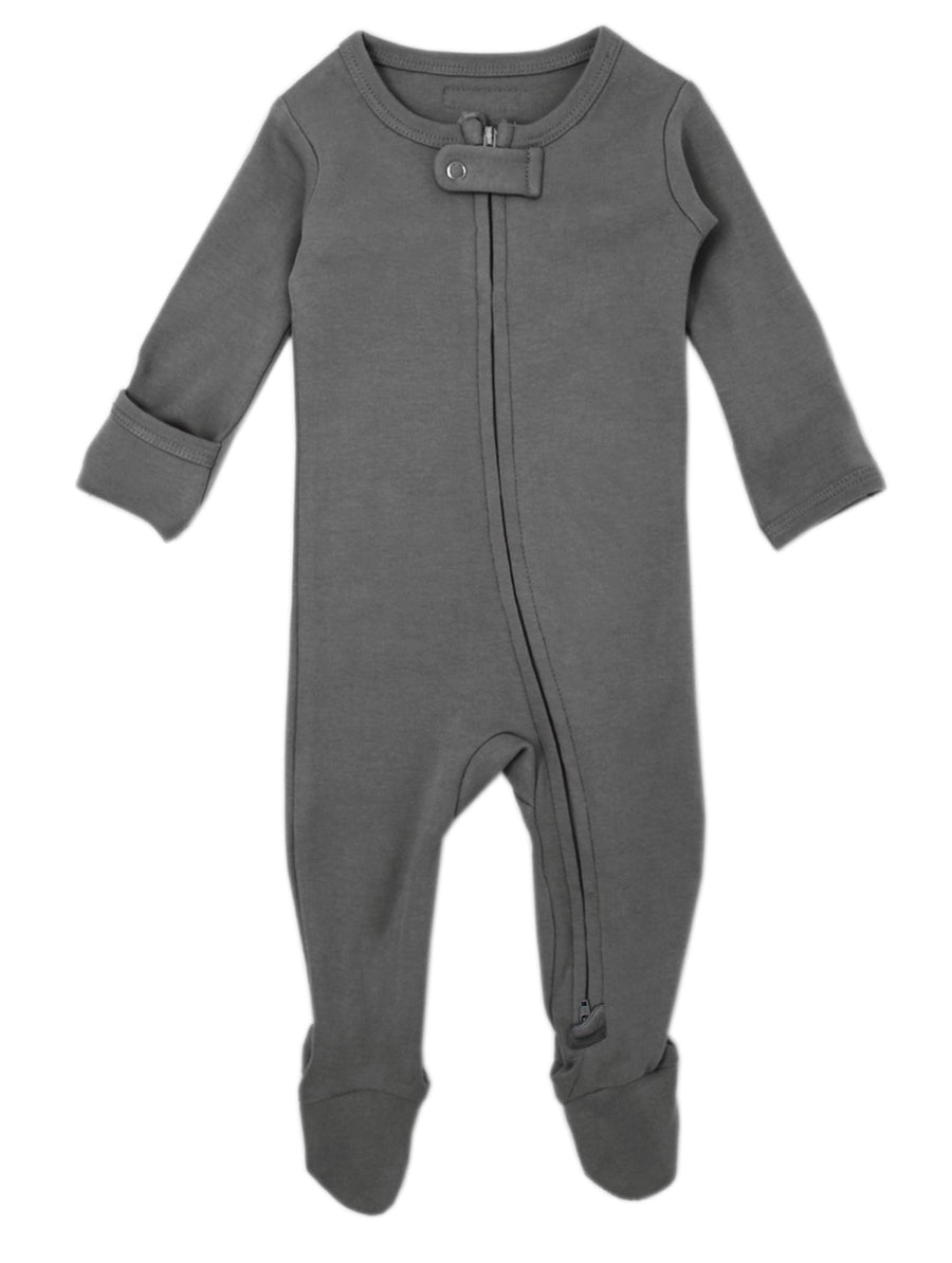 L'ovedbaby Organic Zipper Footie - Gray