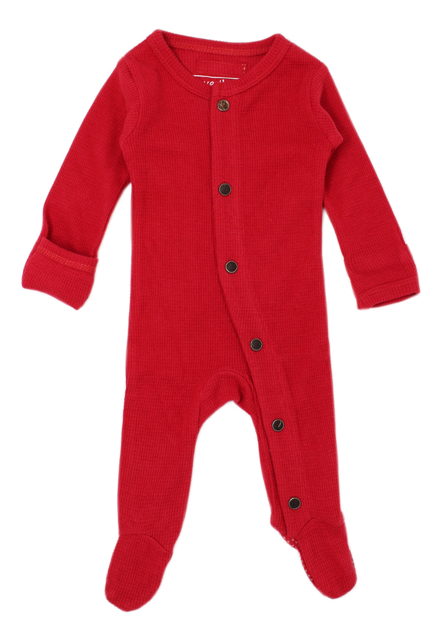 L'ovedbaby Organic Cotton Footie - Thermal Cherry